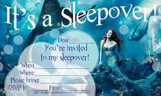 If you love mermaids, then you might like to use these beautiful mermaid party invitations to invite your friends to your next sleepover party.      These free mermaid party invitations are the kind that you can fill in (the blanks) wityh details of your own party such as date and time and RSVP details. Just click on the mermaid picture / invite that you like best and it will open nice and big - the print however many you need and fill in the blanks to personalise them.