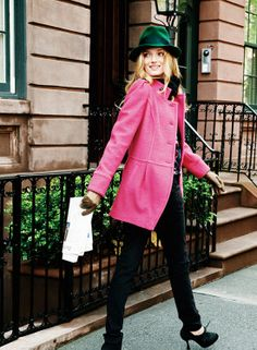 green fedora + pink peacoat.  If I only looked good in a hat!