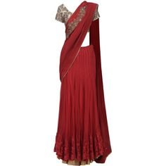Red lehenga saree with embroidered blouse available only at Pernia's... ($1,884) ❤ liked on Polyvore featuring tops and blouses