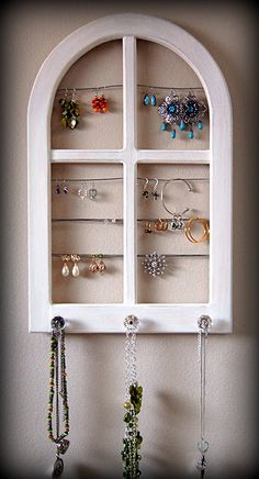 I have an old window that I am turning into a jewelry holder, similar to this.