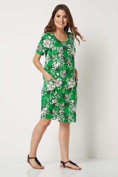 Rochie moderna, de culoare verde, cu imprimeu floral - Rochii - Rochii de primavara-vara Cocoon Dress, Roman Originals, Casual Day Dresses, Floral Prints, Cold Shoulder Dress, Dressing, Short Sleeves, Modern, Neckline