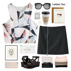 """""""Lookbookstore 2"""" by ruthaudreyk ❤ liked on Polyvore featuring moda, Monki, 1000Museums, Vince, IRIS VON ARNIM, Diptyque, Salvatore Ferragamo, OUTRAGE e Rifle Paper Co"""