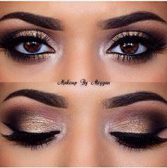 Maquillaje dorado ahumado