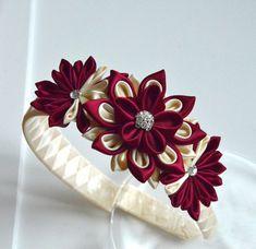 Girl headband Kanzashi flower headband ivory by MagaroCreations