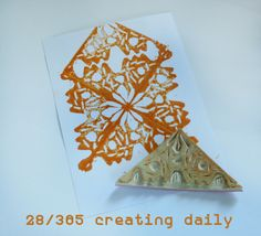 """Project """"365 - creating daily"""" day 28: triangle repeat stamp. Idea from Julie Fei-Fan Balzers´ book """"Carve, Stamp, Play""""  Anke Humpert 1/2014  #carvestampplay  #365creatingdaily"""
