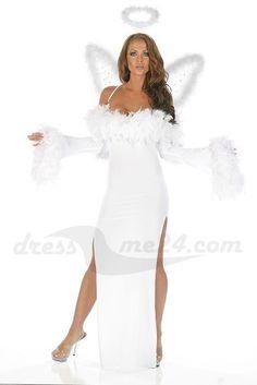 Besuche uns gern auch auf dressme24.com ;-) Angels Dream - Engel Kostüm Kleid - Ein traumhaft langes weißes Microfaser Keid mit Chandelle Federn. Beidseitig hoch geschlitzt. Made in USA. #Engelskostüm, #Damenkostüme, #Faschingskostüme