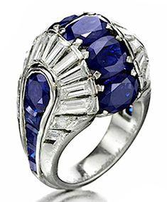 Van Cleef  Arpels An Art Deco Sapphire and Diamond Ring, circa 1938.