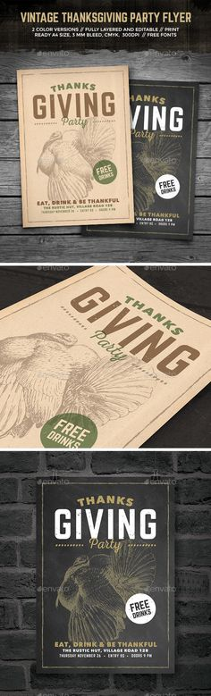 Vintage Thanksgiving Party Flyer — Photoshop PSD #retro #engraving • Available here → https://graphicriver.net/item/vintage-thanksgiving-party-flyer/13309493?ref=pxcr