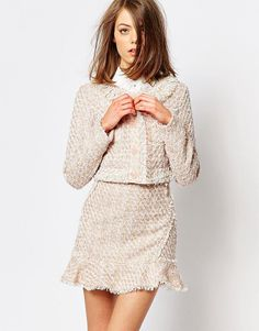 Sister Jane Pink Lemonade Tweed Crop Jacket Co-Ord by Sister Jane. Jacket by sister jane, Unlined tweed, Collarless design, Button placket, Twin chest pockets, Cropped length, Regular ...