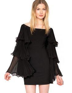 Black Ruffle Sleeves Chiffon Dress