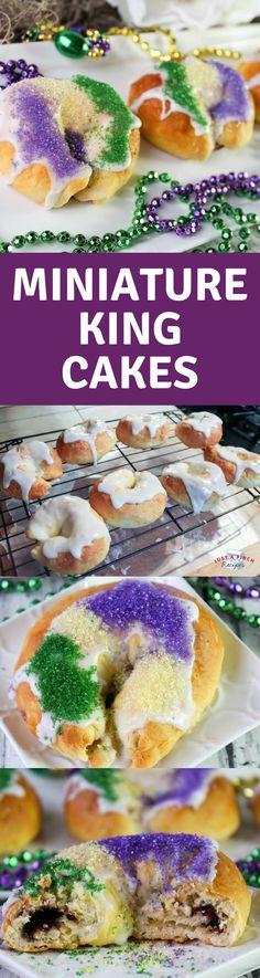 Easy King Cakes recipe for Mardi Gras! #kingcake #mardigras #mardigrasrecipe #kingcakes #kingcakerecipe
