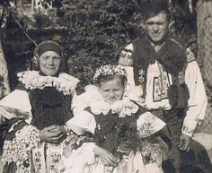 Antique RPPC Photograph of Girls and Boy in Czech/Moravian Folk Costume. PainterPoetMuse, $16.00