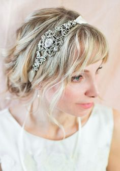 Bridal Ribbon Hairband, Vintage Bridal Headpiece, Downton Abbey Wedding, Gatsby Headband, 1920s Hairband, Wedding Hairband - 'MIRIELLE'