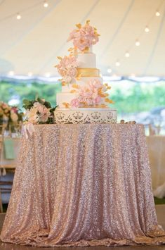 Beautiful blush sequin tablecloths, overlays ,runners