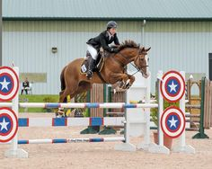 Fiumes, an ex race horse who'd earned 85,000 in his career, transformed from a dark stall corner to the spotlight at Devon... And he's jumping over a captain America jump!!! Awesome:)
