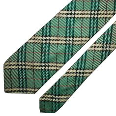 BURBERRY1 Tie Nova Check In Green Classic Woven Silk Necktie ITALY MINT   fashion  clothing 4b64ae46f