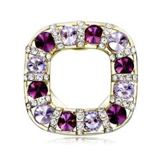 Shop for Crystal Scarf Buckle Clips, OKA Jewelry Amethyst Square Breastpin Brooches Gold is crafted of gold tone base metal. Scarf Rings, Amethyst Crystal, Brooch, Crystals, Mirror, Metal, Gold, Jewelry, Luxury