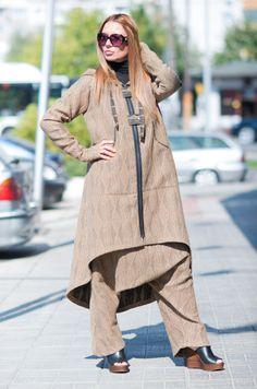 Light Brown Women Harem Pants / Light Brown Hooded by EUGfashion
