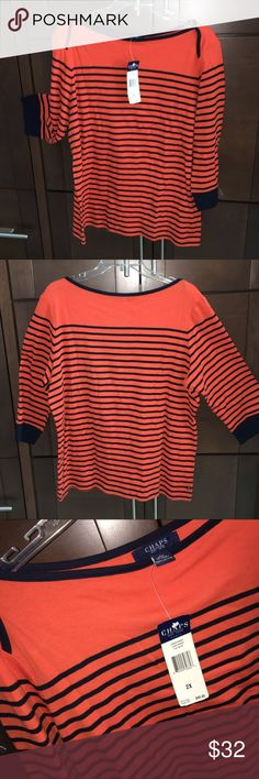 """Striped boat top-NEW! Cute orange and navy """"Bar Harbor"""" striped top by Chaps Ralph Lauren. 26-1/2"""" shoulder to hem, 100% cotton. BRAND NEW WITH TAGS! Navy cuffs and piping detail around neck and shoulder. Says 2X but it's more like XL - 1X at most.  💗💗💗💗🌴🌴🌴 Make me an offer on this one! 🍦🍦🍦 Chaps Tops Tees - Long Sleeve"""