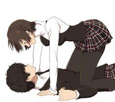 persona 5 makoto and akira Persona 5 Makoto, Persona 5 Anime, Persona 5 Joker, Anime Love Couple, Cute Anime Couples, Anime Couples Drawings, Anime Couples Hugging, Persona 5 Memes, Shin Megami Tensei Persona
