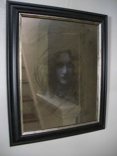 I got a thirft store mirror to try this on. and some fabulous frames. Domythic Bliss: A Creeptastically Eerie Mirror