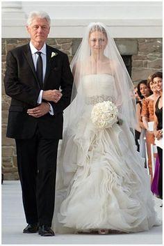 chelsea clinton wedding dress - Google Search Celebrity Wedding Photos, Celebrity Wedding Dresses, Celebrity Weddings, Famous Wedding Dresses, Designer Wedding Dresses, Bridal Dresses, Bridesmaid Dresses, Chelsea Clinton Wedding, Chelsea Wedding