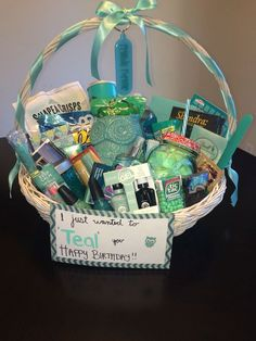 """wanted to """"TEAL"""" you happy birthday! Gift basket Just wanted to """"TEAL"""" you happy birthday! Gift basket Just wanted to """"TEAL"""" you happy birthday! Gift basket Just wanted to """"TEAL"""" you happy birthday! Cute Birthday Gift, Birthday Gift Baskets, Happy Birthday Gifts, Birthday Gifts For Best Friend, Best Friend Gifts, Gifts For Friends, Diy Birthday, Birthday Presents, Birthday Ideas"""