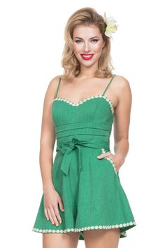29c87fe81b Jayne Green Wide Leg Playsuit 1930s Fashion