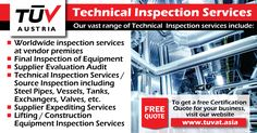 TUV Austria Technical Inspection Services. For further queries, fill out a free quote on our website: tuvat.asia/get-a-quote, or call Pakistan: +92 (42) 111-284-284 | Bangladesh +880 (2) 8836404 | Sri Lanka +94 (11) 2301056 to speak with a representative. #ISO #TUV #certification #inspection #pakistan #iso27001 #iso9001 #bangladesh #srilanka #lahore #karachi #colombo #dhaka #construction