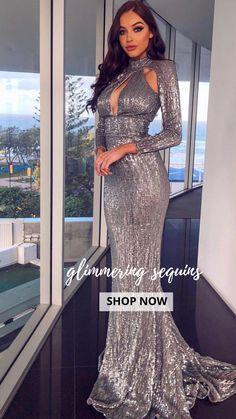 acb4c9340a Prom Formal Mermaid Maxi Grey Evening Elegant Long Train Gown Dinner  Dresses, Formal Prom,
