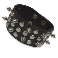 Metal Cone Parallel Spikes Stud Rivet Bangle Cuff Strap Bracelet