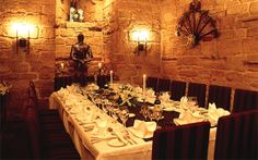 Dungeon Restaurant, Dalhousie Castle, Scotland - had our wedding dinner here
