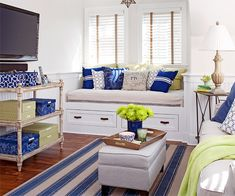 Multipurpose Spaces - Trying not to envy the window seat!  #interior_design #blue