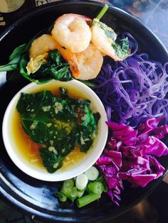 Ramen Bowls - Mother's Day Special-purple sweet potato noodles w/sautéed shrimp,spinach & our Tokyo dipping broth. #getyourslurpon #LawrenceKS #restaurant