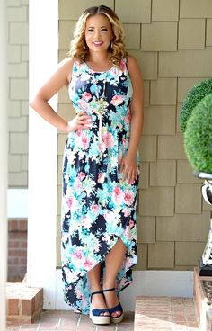 Perfect Bouquet Floral Hi-Low Maxi Dress - Navy