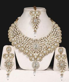 Wedding Jewelry Gold Plated Crystal Necklace Earring for Women