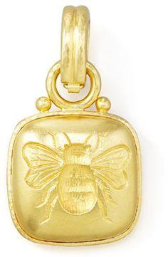$2,925, 19k Cushion Gold Bee Pendant by Elizabeth Locke. Sold by Neiman Marcus.