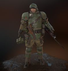 ArtStation - RKKA Shock Trooper, Dmitry Bezrodniy Portrait reference is Aleksei Makarovich Smirnov russian comedy actor and WW2 hero