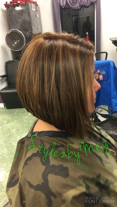 Swing/inverted bob with Paul Mitchell color and caramel highlights for dimension. Fun shirt haircut. Bob haircut. Stacked haircut. Swing bob