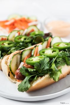 Classic American hot dogs with Vietnamese flavors. These Bánh Mì Hot Dogs are sure to be a hit at your BBQ! Dog Recipes, Grilling Recipes, Asian Recipes, Cooking Recipes, Ethnic Recipes, Diner Recipes, Grilling Ideas, Kabob Recipes, Cooking Bacon