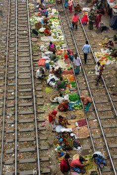 Train line market, India