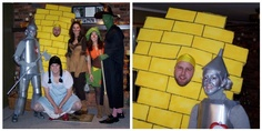 Funny awesome halloween costumes  - Wizard of Oz Gang - Dorothy, Yellow Brick Road, Tin Man, etc