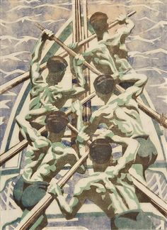 "Auction Result for ""Oarsmen"" (Circa 1925) by Margaret Barnard 