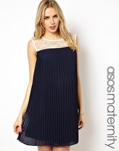 Image 1 ofASOS Maternity Exclusive Dress With Lace Top And Pleated Skirt