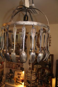 Made in France, Jose Estevez Silverware Repurposed Hotel Silverware Striking Chandelier $595.00