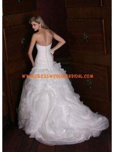 Modern Designer Ruched Applique Organza Online Wedding Dresses 2013