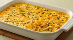 Potatoes to serve Here's a quick casserole that you can have in the oven in just 10 minutes.Potatoes to serve Here's a quick casserole that yo Hcg Recipes, Cheesy Recipes, Potato Recipes, Vegetable Recipes, Cooking Recipes, Healthy Recipes, Recipies, Potato Dishes, Potato Ideas