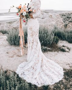 Crochet lace wedding gown with sleeves | modest wedding gown | Elizabeth Cooper | gowns with sleeves | Esila Bridal Modest Gowns