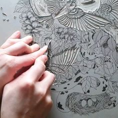 """Carving an illustration on a lino block. This will be hand printed on paper. Music """"Busqueda exploratoria Noce Lens"""" By Circus Marcus illustration design Forest Baroque- carving the lino block for printing Lino Art, Woodcut Art, Linocut Prints, Stamp Printing, Screen Printing, Printing On Fabric, Handmade Stamps, Handmade Art, Tattoo Musik"""