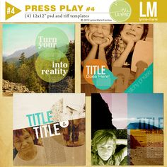 This set of templates lends a very graphic feel to your layouts. The idea is to use blending modes with your photos and add texture. It is a very flat look rather than the realistic paper scrapped layouts with drop shadows and 3D elements.  Includes 4 psd files and 4 tiff files